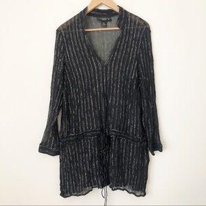 Venezia Silk Tunic Drawstring Waist Tie Black